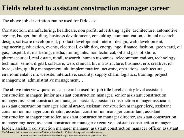 Top 10 assistant construction manager interview questions and answers – Construction Manager Job Description