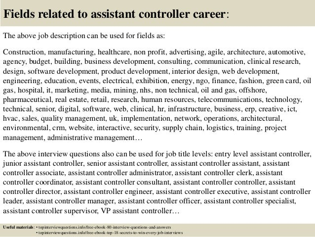 Great ... 17. Fields Related To Assistant Controller Career: The Above Job  Description ... Inside Assistant Controller Job Description
