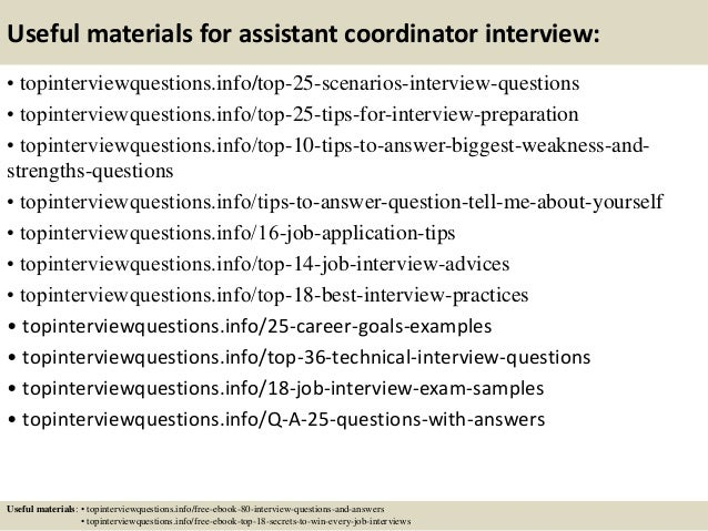 Top 10 assistant coordinator interview questions and answers