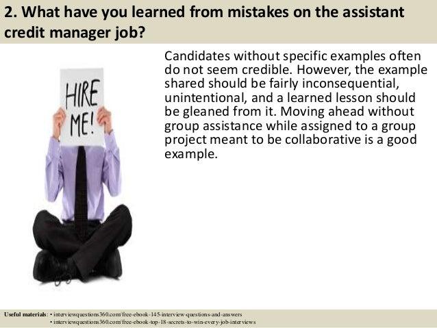 assistant credit manager job description