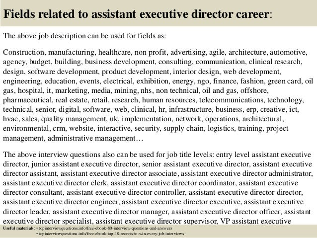... 17. Fields Related To Assistant Executive Director Career: The Above Job  Description ...