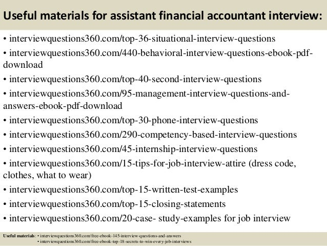 13 useful materials for assistant financial accountant interview