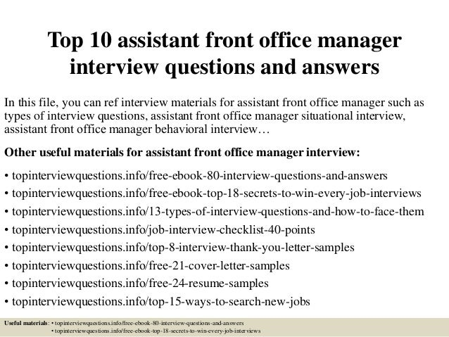 Top 10 assistant front office manager interview questions and answers - Assistant office manager job description ...