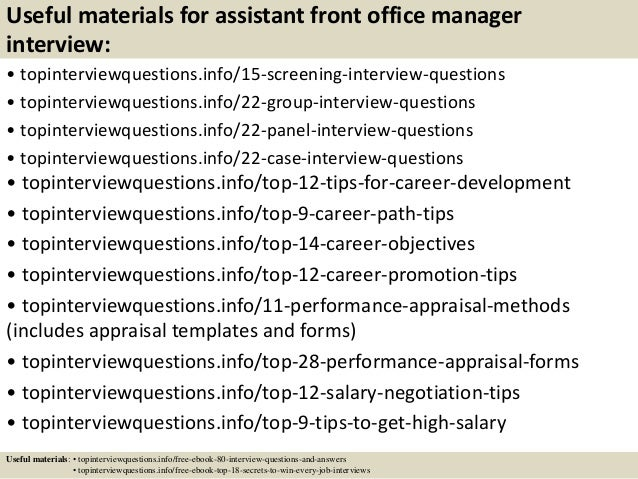 Top 10 Assistant Front Office Manager Interview Questions