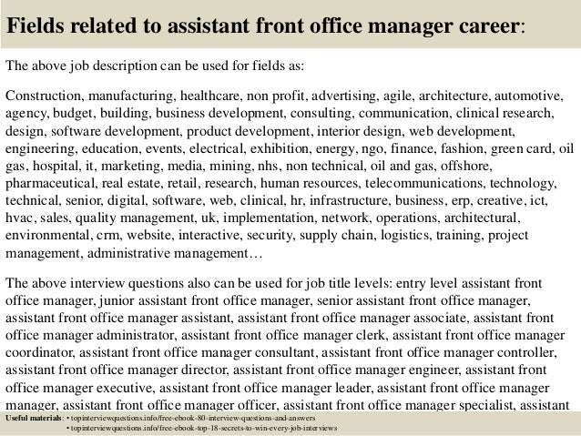 Top 10 assistant front office manager interview questions and answers