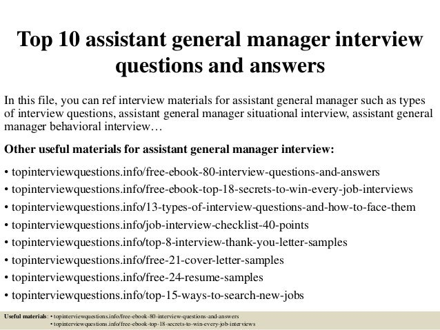 top 10 assistant general manager interview questions and