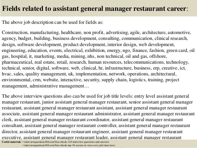Top 10 assistant general manager restaurant interview questions and a…