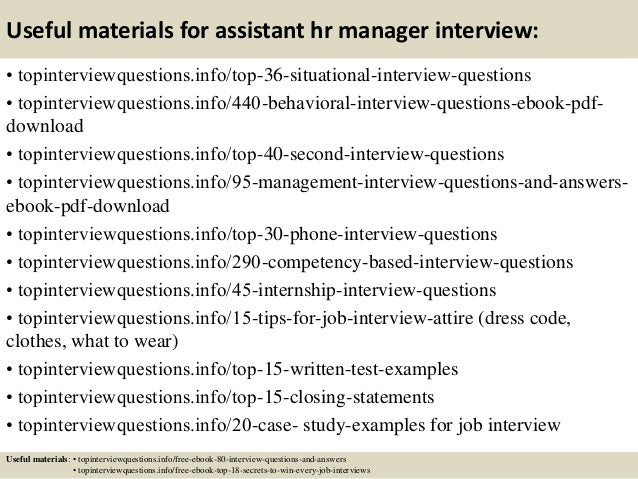 12 useful materials for assistant hr manager interview - It Manager Interview Questions And Answers