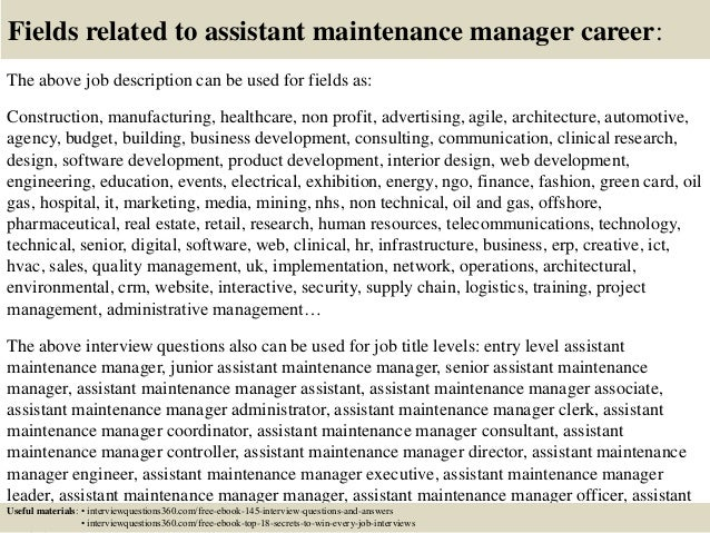 ... 18. Fields Related To Assistant Maintenance Manager Career: The Above Job  Description ...