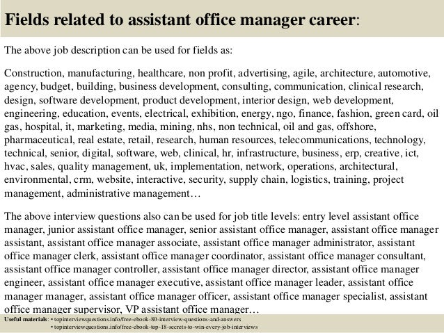 Top  Assistant Office Manager Interview Questions And Answers