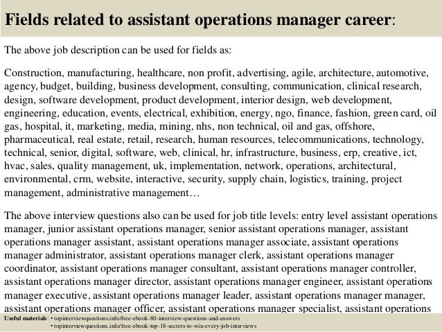 Top  Assistant Operations Manager Interview Questions And Answers