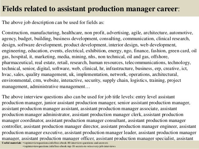 Top  Assistant Production Manager Interview Questions And Answers