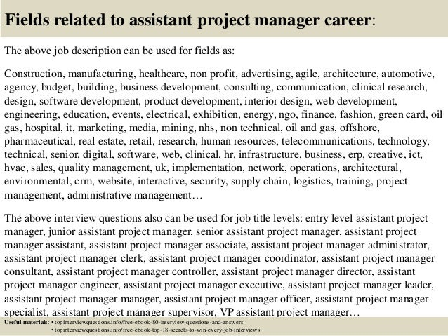 Assistant Project Manager Job Description