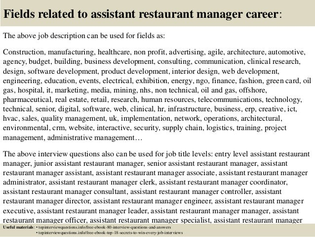 Top 10 assistant restaurant manager interview questions and answers – Restaurant Manager Job Description