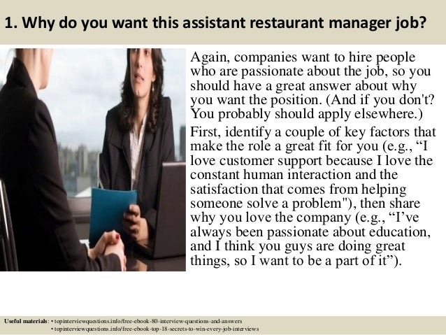 Top 10 assistant restaurant manager interview questions and answers