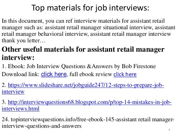 interview question for assistant manager