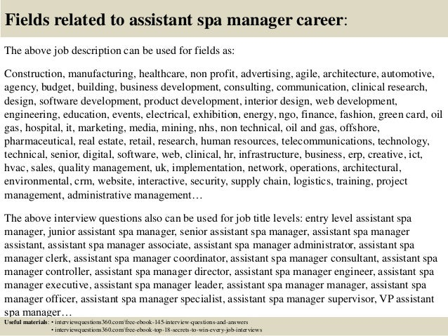 Spa Job Description Top 10 Assistant Manager Interview Questions And Answers