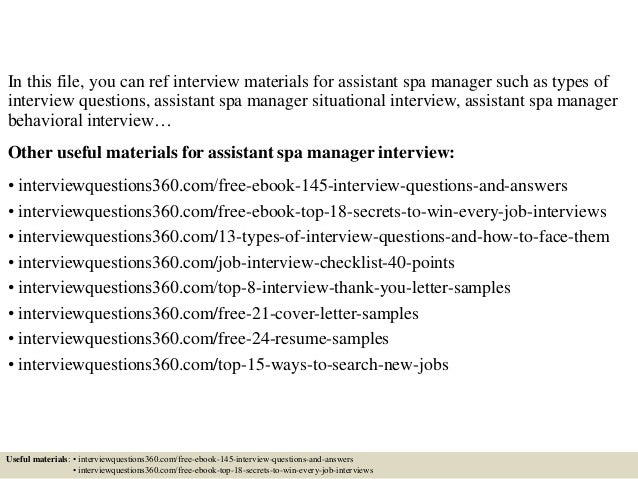 top 10 assistant spa manager interview questions and answers - Spa Manager Cover Letter