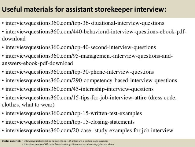 Top 10 assistant storekeeper interview questions and answers