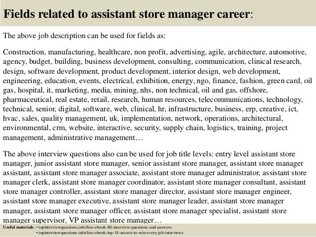 Top 10 assistant store manager interview questions and answers – Store Manager Job Description