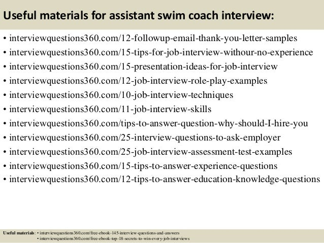 Top 10 Assistant Swim Coach Interview Questions And Answers