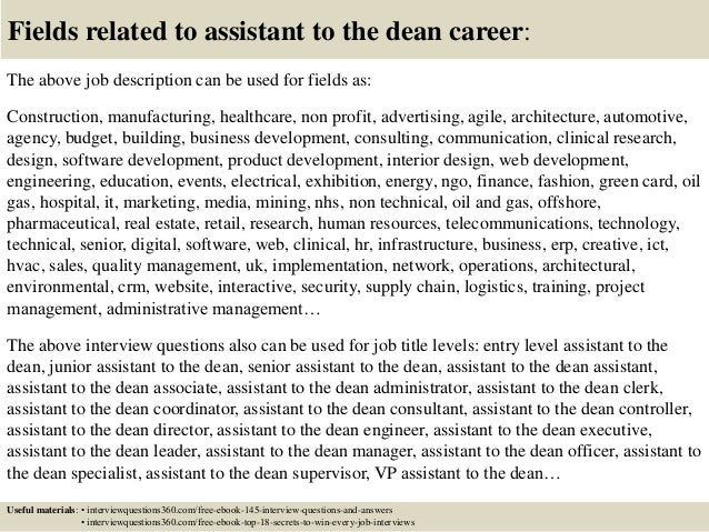 Top 10 assistant to the dean interview questions and answers