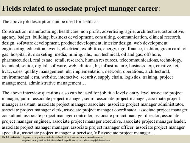 Top 10 associate project manager interview questions and answers