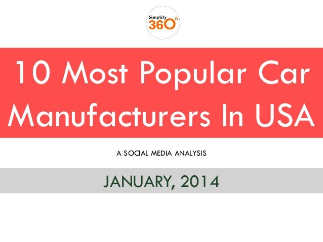10 Most Popular Car Manufacturers In USA A SOCIAL MEDIA ANALYSIS  JANUARY, 2014