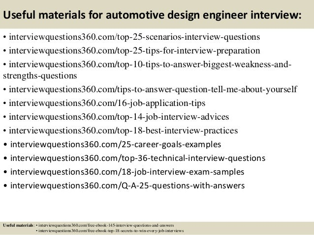 ... 14. Useful Materials For Automotive Design Engineer Interview: ...