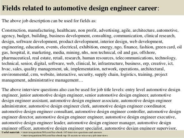 18 fields related to automotive design engineer career the above job description - Car Design Engineer Sample Resume