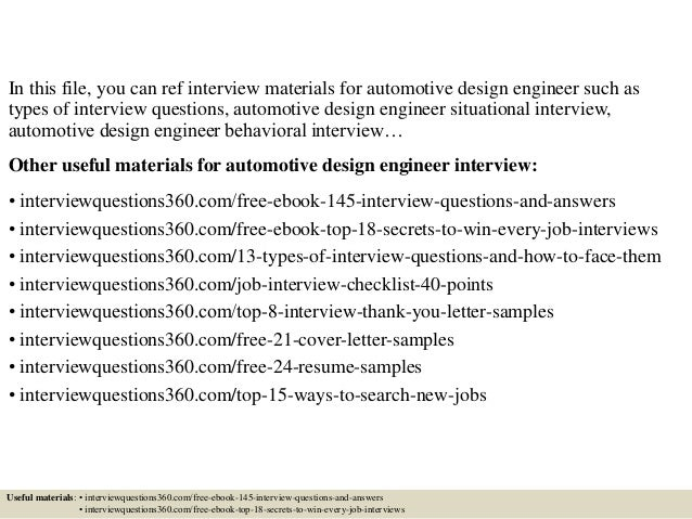 Perfect ... 2. In This File, You Can Ref Interview Materials For Automotive Design  Engineer Such As Types Of Interview Questions, Automotive Design Engineer  ...