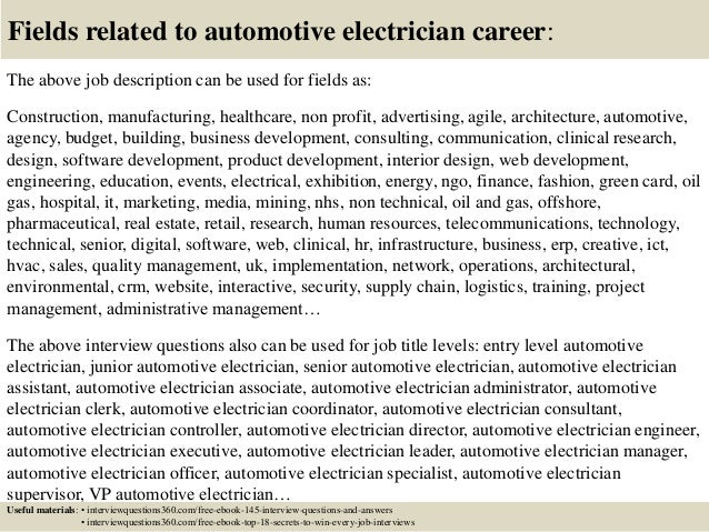 18 fields related to automotive electrician - Responsibilities Of An Electrician