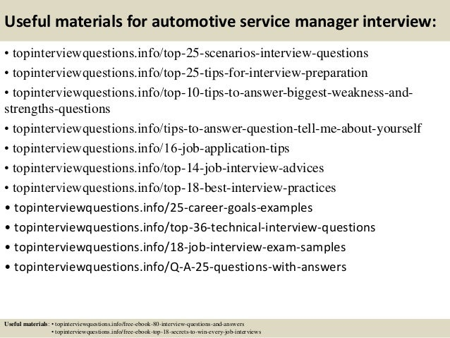 Top 10 automotive service manager interview questions and answers