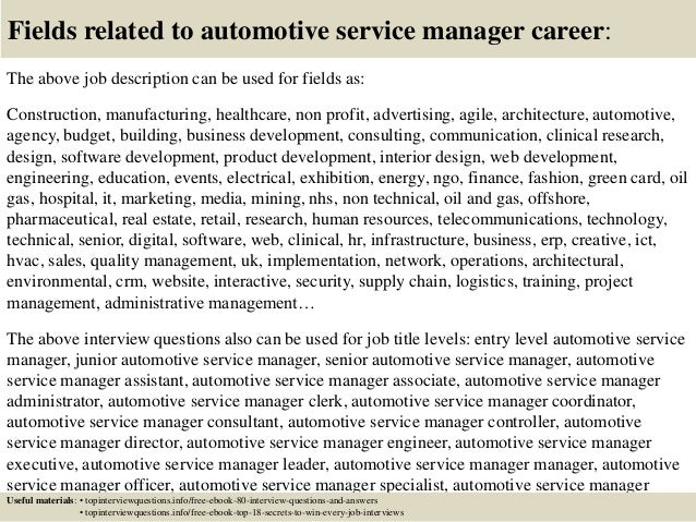 Top  Automotive Service Manager Interview Questions And Answers