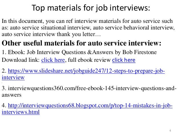 service interview 4 top materials for job - Bodyshop Manager Jobs