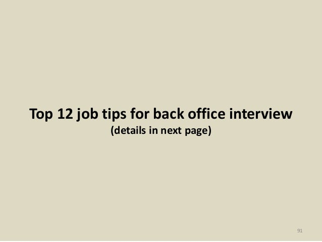 back office interview questions and answers pdf