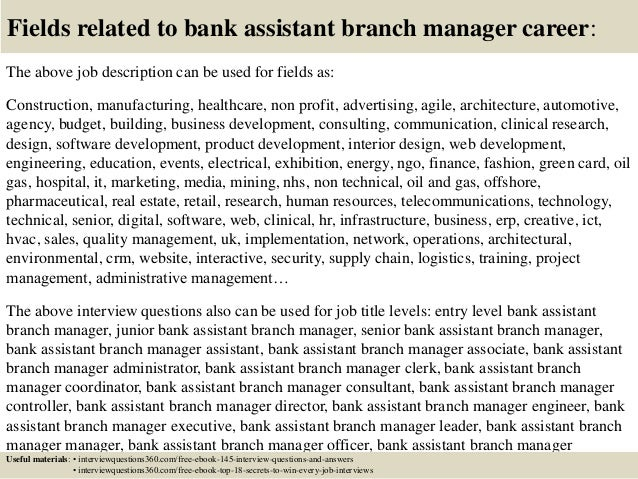 Top 10 bank assistant branch manager interview questions and answers