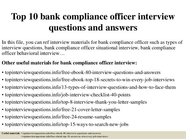 Top 10 bank compliance officer interview questions and answers - Role of compliance officer in bank ...