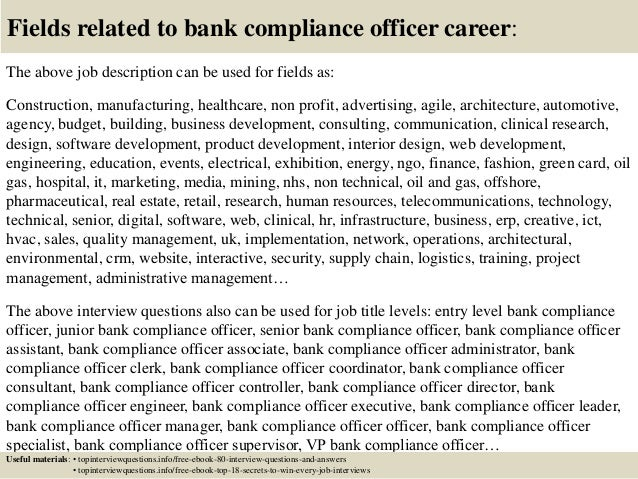 Top 10 bank compliance officer interview questions and answers - Compliance officer bank job description ...