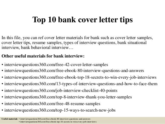 top 10 bank cover letter tips