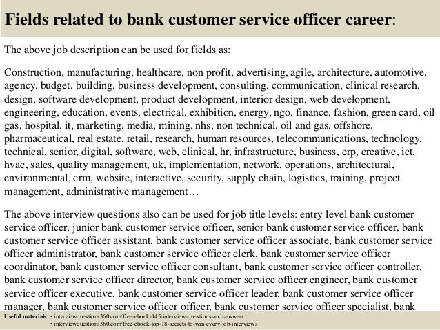 Top 10 bank customer service officer interview questions and answers