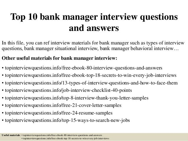 top 10 bank manager interview questions and answers