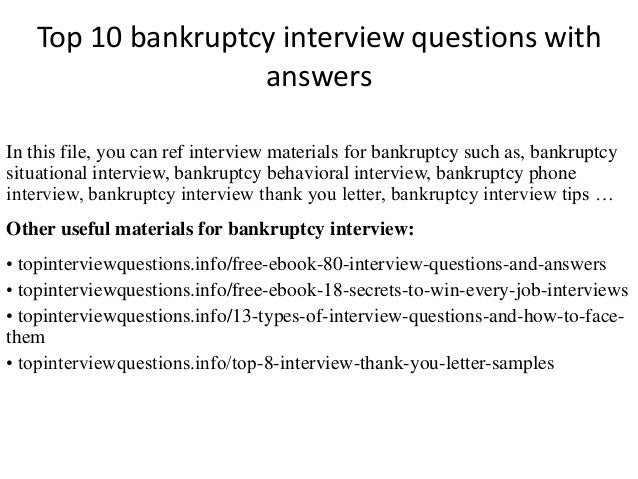 Top 10 bankruptcy interview questions with answers for Bankruptcy letter of explanation template