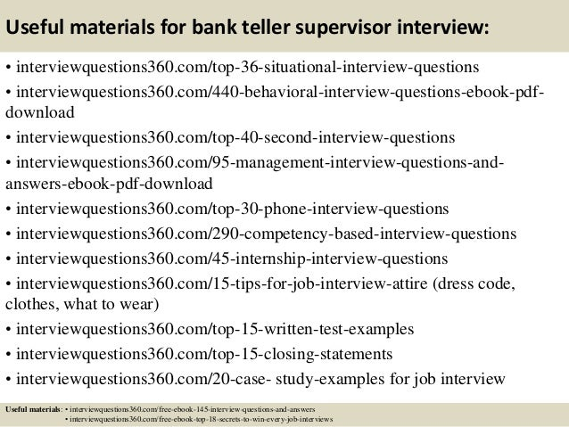 13 useful materials for bank teller supervisor interview - Bank Teller Interview Questions And Answers