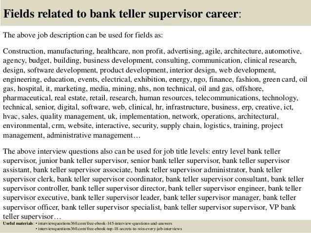 Top 10 bank teller supervisor interview questions and answers – Teller Job Description