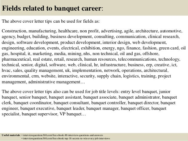 16 fields related to banquet career the above cover letter