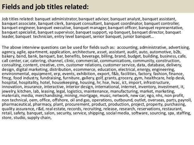 21 fields and job - Banquet Manager Job Description