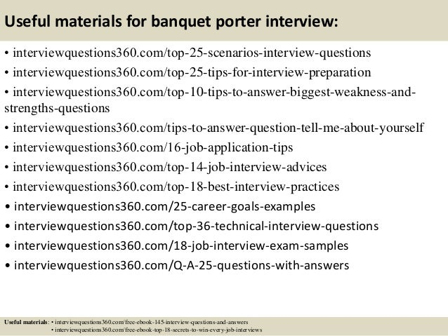top 10 banquet porter interview questions and answers - Banquet Porter Sample Resume
