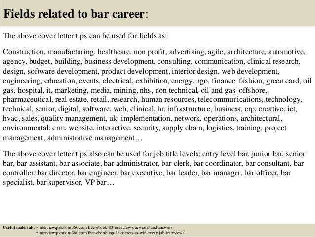 ... 16. Fields Related To Bar Career: The Above Cover Letter ...