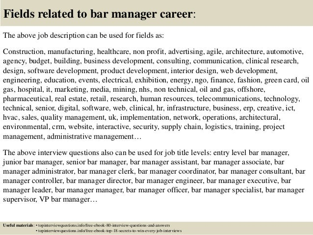 top 10 bar manager interview questions and answers